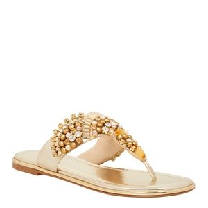 Nine West Gold Onawa Flip Flops
